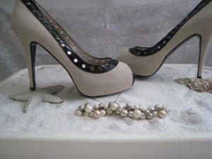 Elda Angari Luxus High Heels   Elegant & Edel Creme Stilettos 11,4 cm  Top Neu