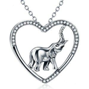 Elefanten Herz-Halskette 925 Sterling Silber