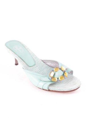 Elégance Heel Pantolettes turquoise extravagant style