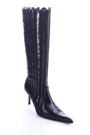 Elegance Absatz Stiefel schwarz Streifenmuster Eleganz-Look