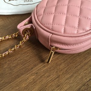 Elegance Leder Täschchen rosa/gold in Chanel Steppmuster Design