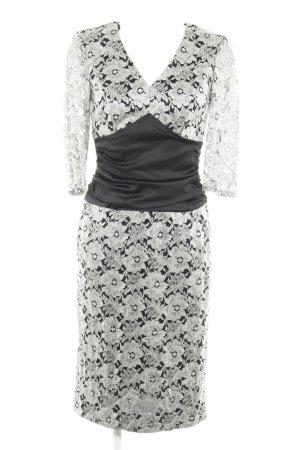 Elégance Paris Abendkleid schwarz-silberfarben florales Muster Elegant
