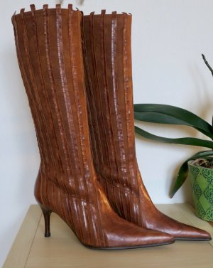 Elégance Paris Stretch Boots cognac-coloured-carmine leather