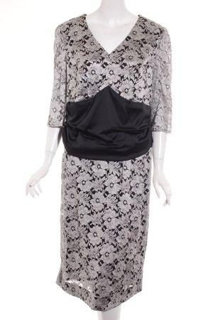 Elégance Paris Etuikleid schwarz-silberfarben florales Muster Elegant