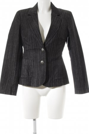 Elégance Paris Jeansblazer anthrazit-grau Nadelstreifen Business-Look