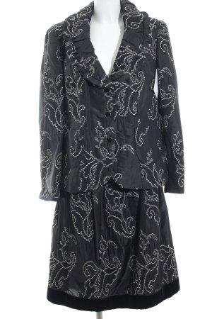 Elégance Paris Kostüm schwarz-weiß abstraktes Muster Elegant