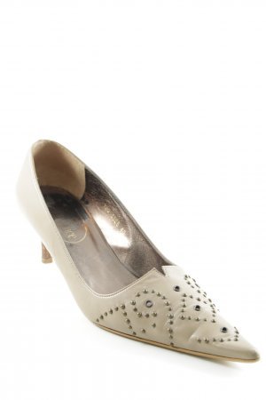 Elégance Paris Spitz-Pumps beige abstraktes Muster Urban-Look