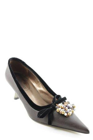 Elégance Paris Spitz-Pumps braunviolett-schwarz extravaganter Stil