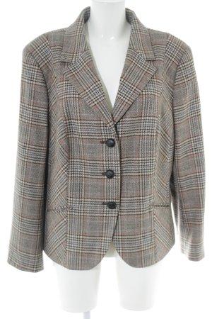 Elégance Paris Woll-Blazer silberfarben-braun Karomuster Business-Look