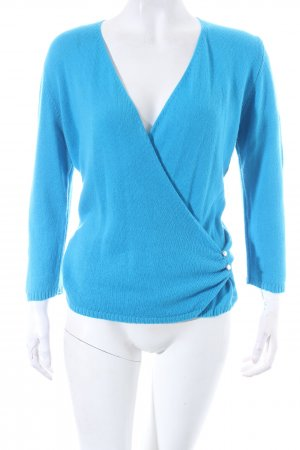 Elegance Prestige Cashmerepullover neonblau Wickel-Look