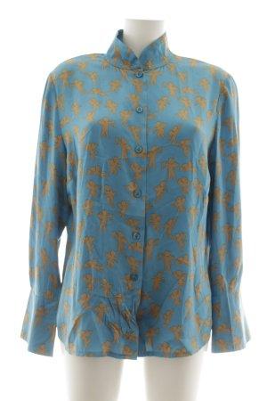 Elegance Prestige Seidenbluse neonblau-hellorange Allover-Druck Casual-Look