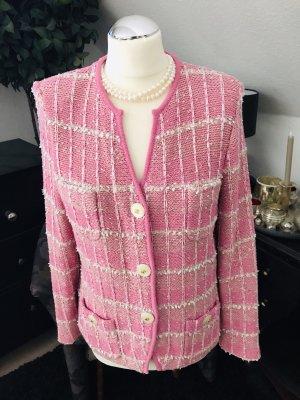 ae elegance Blazer en maille tricotée rose-blanc