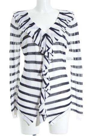 Elégance Maglione lavorato a maglia nero-bianco motivo a righe stile casual
