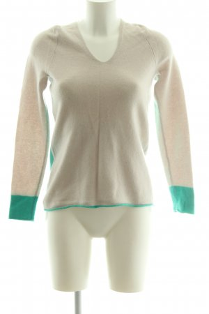Elégance V-Ausschnitt-Pullover creme-grün Casual-Look