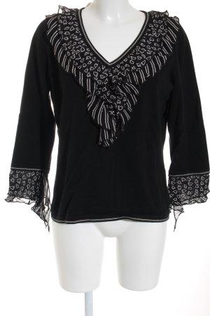Elégance V-Ausschnitt-Pullover schwarz-weiß Herzmuster Romantik-Look