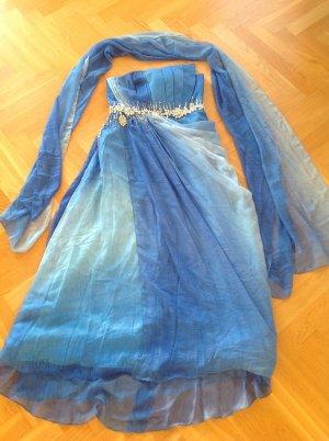 Elegant Abendkleider mit Schal, Blau, Größe 38