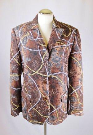 Elegant Blazer Jacke Alba Moda Größe 42 Braun Bunt Ketten Muster Perlen Print Leo Blumen  Longblazer