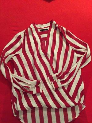 Elegant Bluse rot weiss shirt