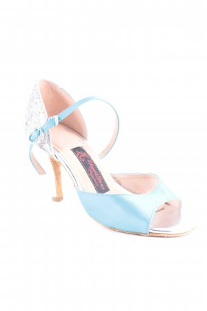 Elegant Dance Signature Strapped High-Heeled Sandals silver-colored-turquoise