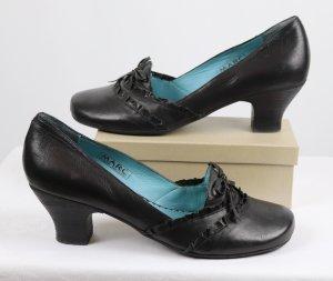 Elegant Echt Leder Schuh Pumps MARC Größe 40 40,5 41 Schwarz Türkis Rüschen Schleife Business Rund