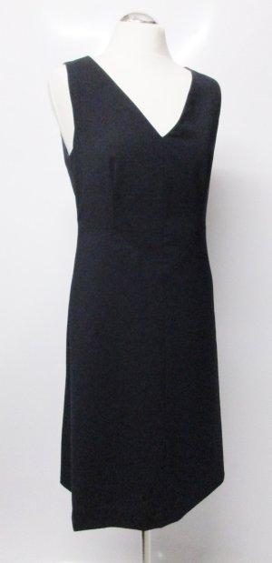 Elegant Etuikleid Kleid Hugo Boss Größe M 38 Schwarz Schurwolle Schlicht V- Neck Kleid Business Büro