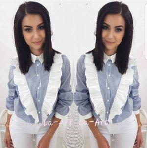 Camisa de manga larga blanco-azul