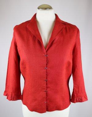 Elegant Kurz Bluse Blusenjacke Hemd Ambiente Größe 38 40 Leinen Rot Rüschen Häckchen Verschluss