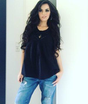 elegant lässiges shirt mit steinchenkragen in schwarz