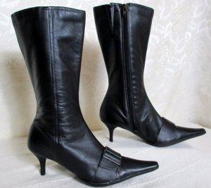 Elegant Party Stiefel Größe 40 Schwarz Spitz Leder Pfennig Absatz