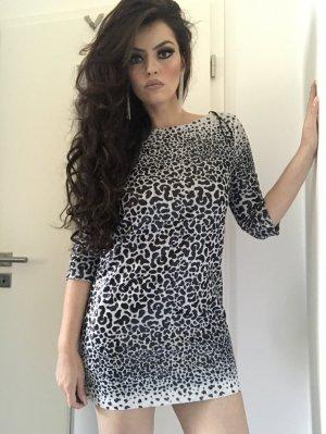 elegant schickes paillettenkleid in schwarz weißem leopardenmuster