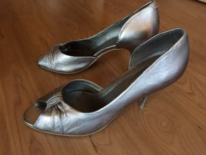 High Heel Sandal silver-colored leather