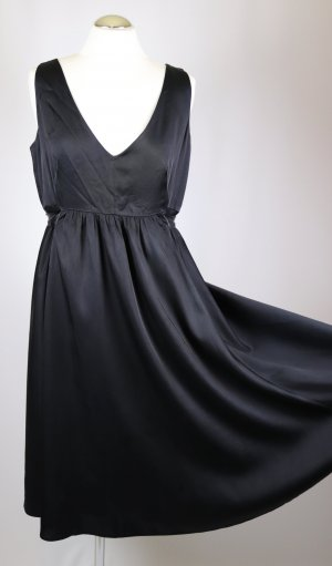 H&M Vestido babydoll negro tejido mezclado