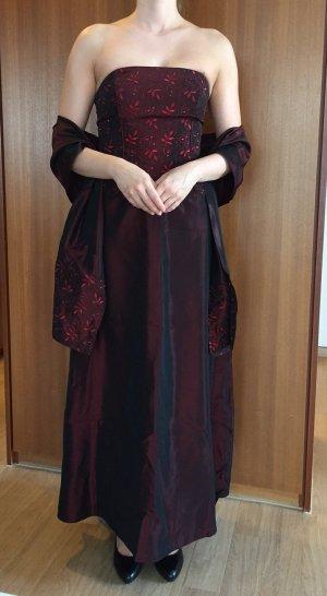 Elegant und Klassisch: Dunkelrotes Ballkleid aus 3 Teilen: Korsage, Rock und Stola