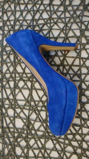 elegante blaue Leder Pumps