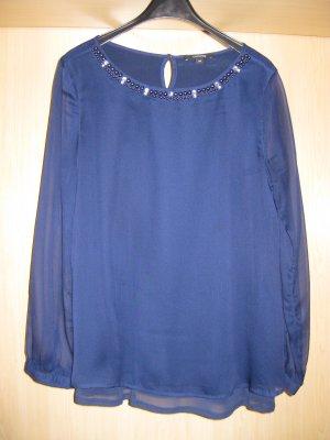 elegante, blaue Schlupfbluse mit Perlen und Glitzersteinen am Hals von comma, Gr.34