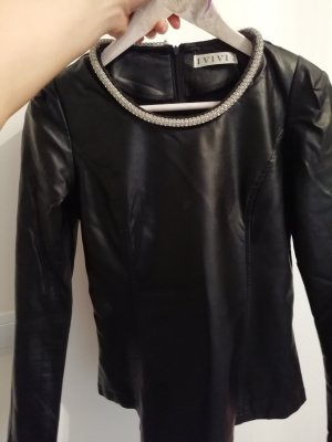 Leather Blouse black-silver-colored