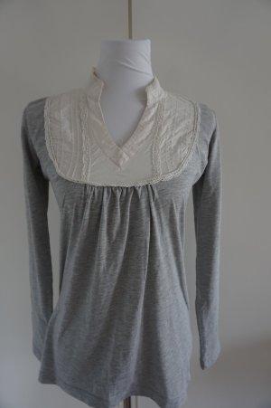 Elegante Bluse grau weiß in Gr. S