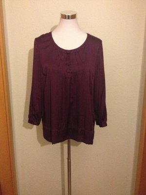 H&M Tie-neck Blouse blackberry-red-brown violet polyester