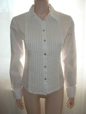 Elegante Bluse mit Bieseneinsatz weiss