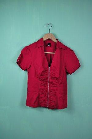 Elegante Bluse mit Reißverschluss und Raffung