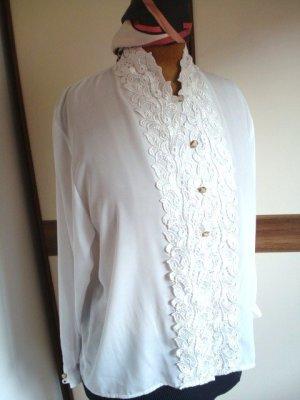 elegante Bluse mit Spitzen, Seideneffekt