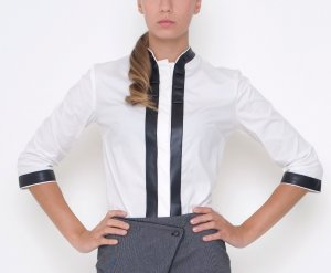 Stand-Up Collar Blouse white-black cotton