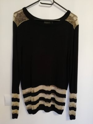 Rainbow Long Sleeve Blouse black-gold-colored cotton