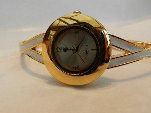 Elegante Damenarmbanduhr Gold / Weiß  - Quarz - analog - neu