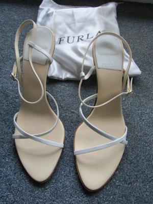 Elegante Furla Sandalen grau-beige neuwertig Leder