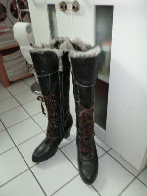 C&A Botas con cordones marrón-gris Imitación de cuero
