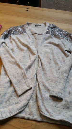 elegante graue Strickjacke mit silbernen Pailetten von Conleys Black, Größe S