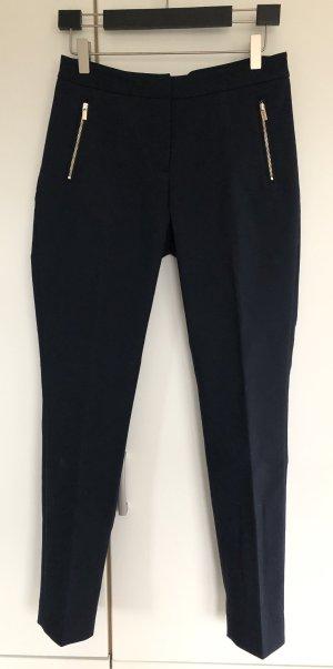 Elegante Hose, H&M, XS/34, dunkelblau mit goldenen Reißverschlüssen