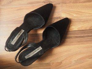 Slingback pumps zwart Zijde