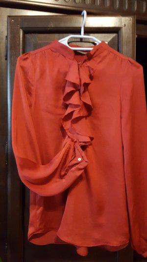 Zara Woman Ruffled Blouse carmine